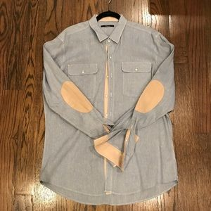 Chambray shirt with suede detail